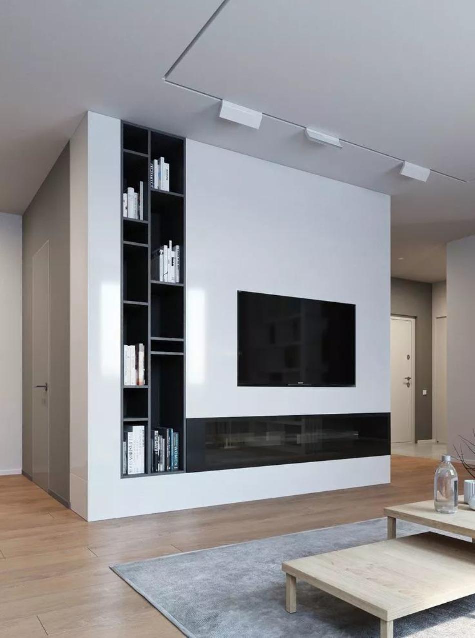 墙面一体隐形柜电视墙